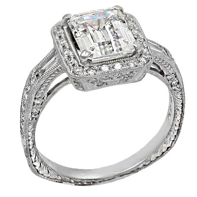 B140 3000162 BbrPlatinum Vintage Style Engagement Ring Set With One Beautiful Emerald Cut