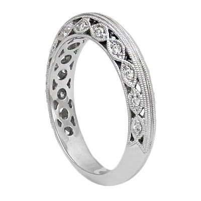 B110 2000069 Bbr14K White Gold Vintage Wedding Band Designed With Diamonds And Filigree