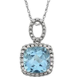 Gemstone & Diamond Halo Necklace