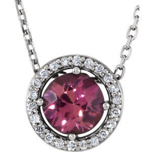 Pink Tourmaline and Diamond Necklace
