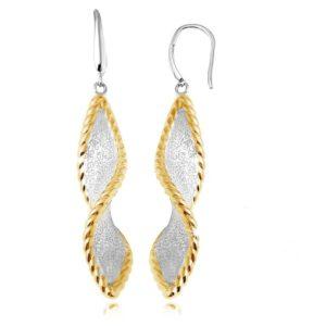 Sterling Silver Twisted Dangling Earrings