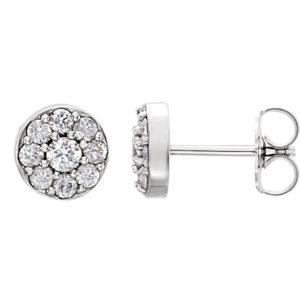 14k White Gold Diamond Cluster Earrings