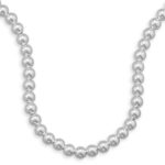 16″ 10mm Sterling Silver Bead Necklace